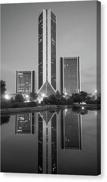 Oklahoma State University Canvas Print - Cityplex Towers - Tulsa Oklahoma - Black And White by Gregory Ballos