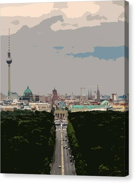 Cityscape Of Berlin - Painting Effect Canvas Print