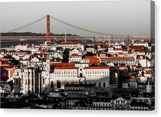 Lisbon In Black, White And Red Canvas Print