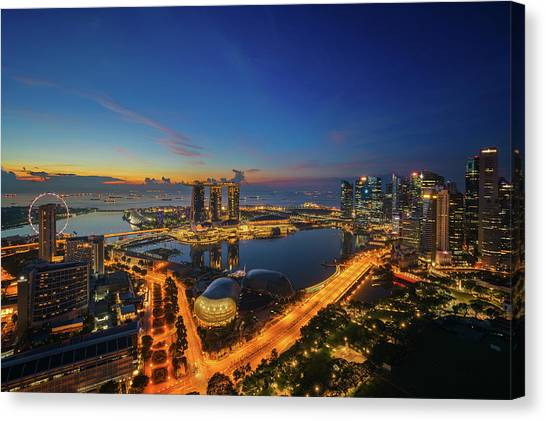 City Sunrises Canvas Print - Cityscape Of Singapore City Sunrise by Anek Suwannaphoom
