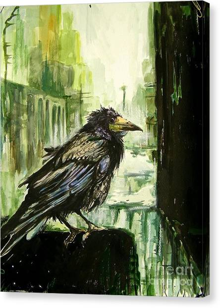 Falcons Canvas Print - Cityscape With A Crow by Suzann's Art