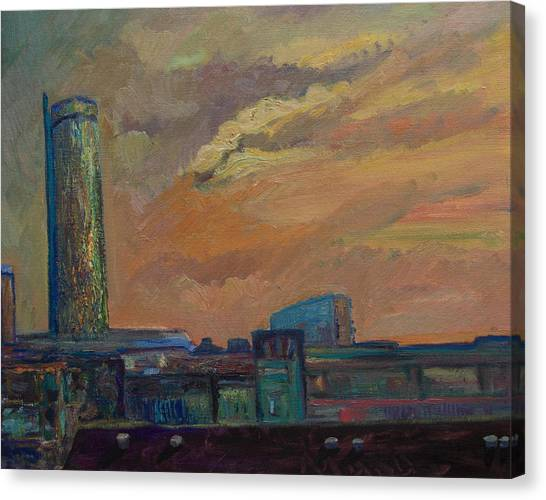Cityscape With Tower Canvas Print by Maris Salmins