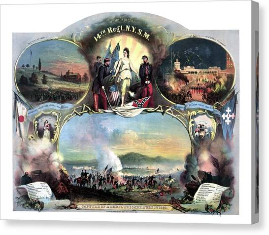 Military Canvas Print - Civil War 14th Regiment Memorial by War Is Hell Store