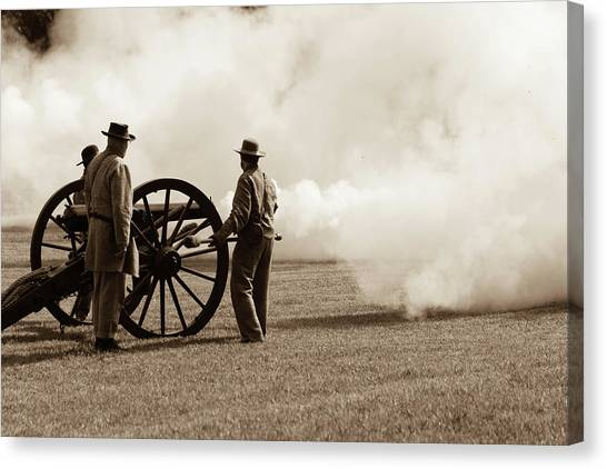 Civil War Era Cannon Firing  Canvas Print