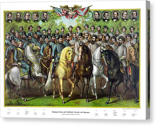 Stonewall Canvas Print - Civil War Generals And Statesman With Names by War Is Hell Store