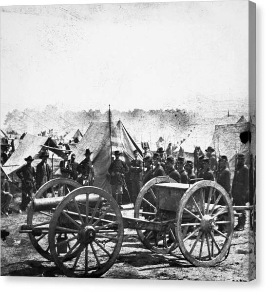 Army Of The Potomac Canvas Print - Civil War: Howitzer Gun by Granger
