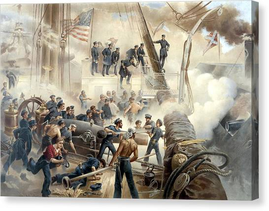 Confederate Canvas Print - Civil War Naval Battle by War Is Hell Store