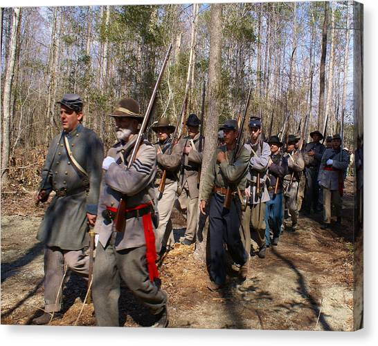 Civil War Soldiers March Through Woods Canvas Print by Rodger Whitney