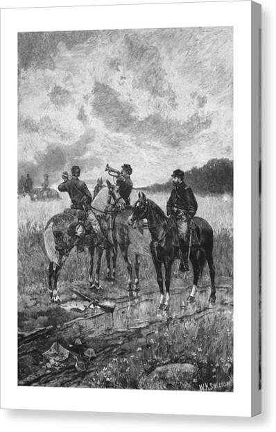 War Horse Canvas Print - Civil War Soldiers On Horseback by War Is Hell Store