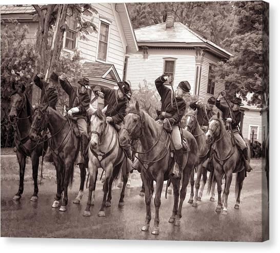 Civil War Soldiers On Horses Canvas Print
