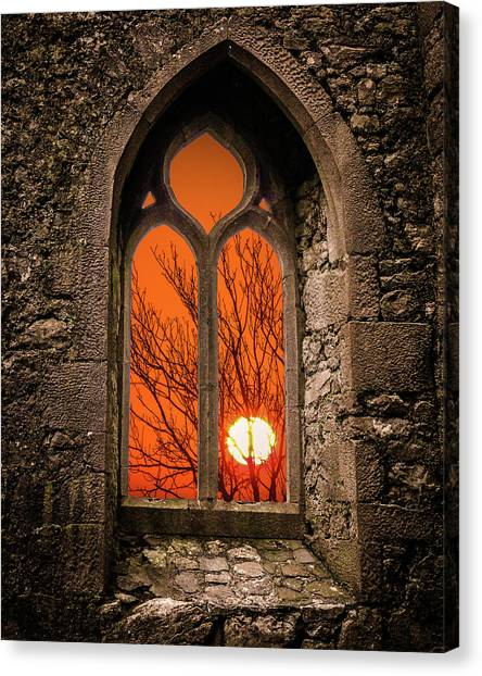 Canvas Print featuring the photograph Clare Abbey Sunrise by James Truett