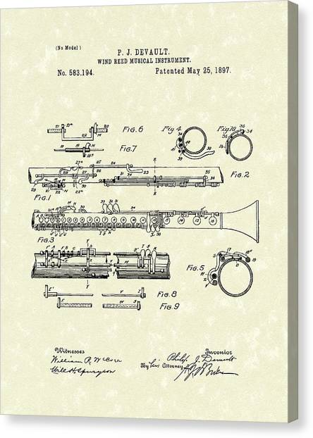 Clarinets Canvas Print - Clarinet 1897 Patent Art  by Prior Art Design