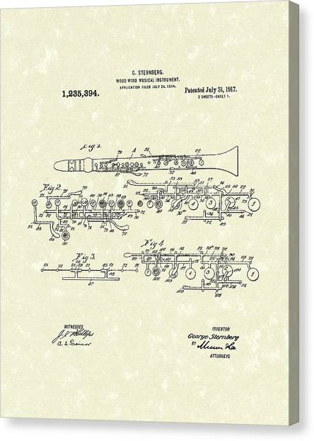 Clarinets Canvas Print - Clarinet 1917 Patent Art by Prior Art Design