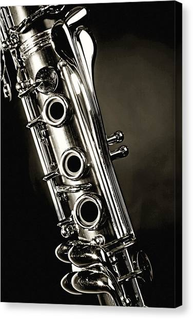 Clarinets Canvas Print - Clarinet Isolated In Black And White by M K  Miller