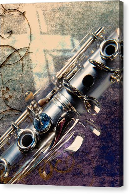 Clarinets Canvas Print - Clarinet Music Instrument Against A Cross 3520.02 by M K  Miller