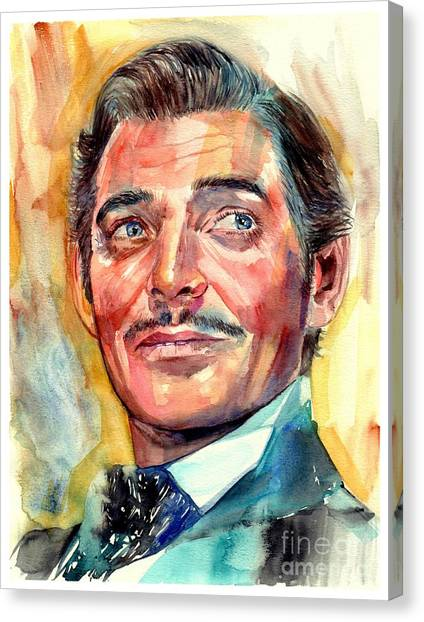 Gone With The Wind Canvas Print - Clark Gable Portrait by Suzann's Art