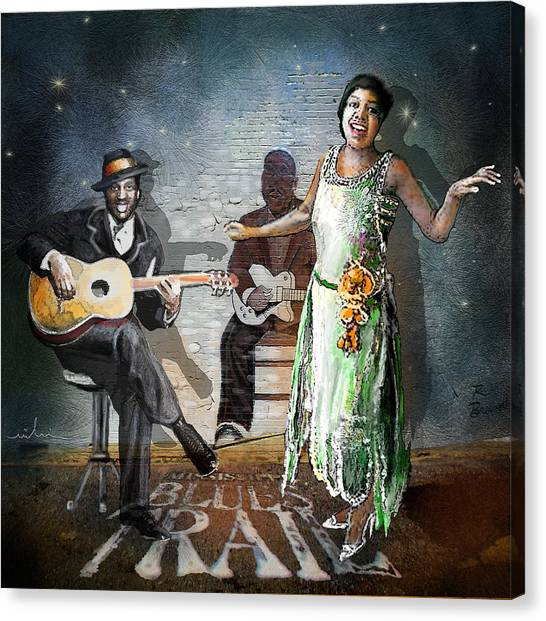 Robert Smith Music Canvas Print - Clarksdale Nights 02 by Miki De Goodaboom