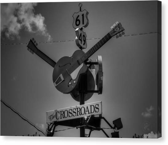 Clarksdale - The Crossroads 001 Bw Canvas Print