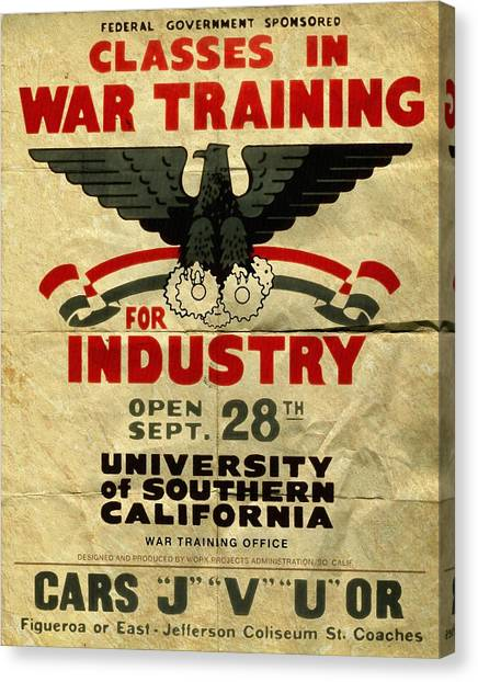 Classes In War Training For Industry - Vintage Poster Folded Canvas Print