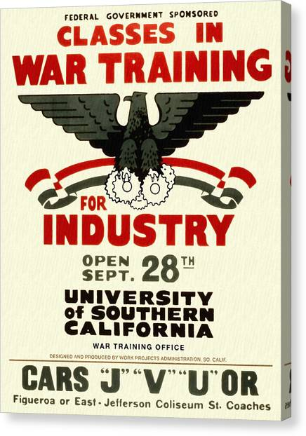 Classes In War Training For Industry - Vintage Poster Restored Canvas Print