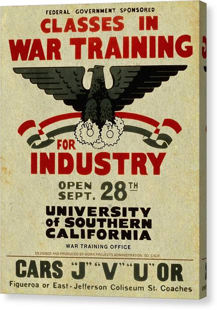 Classes In War Training For Industry - Vintage Poster Vintagelized Canvas Print