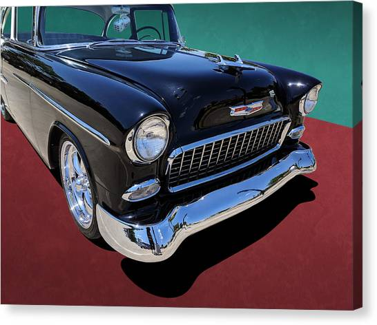 Classic Black And White 1950s Chevy Bel Air Canvas Print