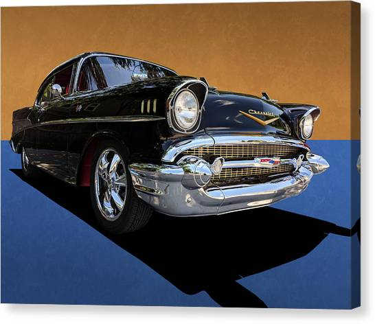 Classic Black Chevy Bel Air With Gold Trim Canvas Print