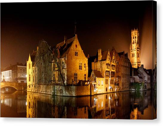 Classic Bruges At Night Canvas Print