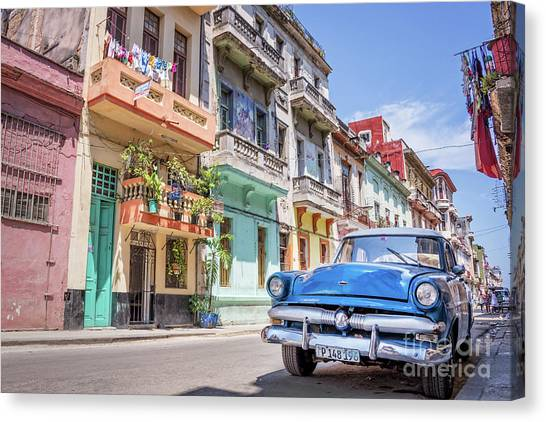 Fifties Canvas Print - Classic Car In Havana, Cuba by Delphimages Photo Creations
