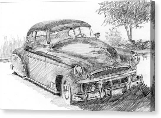 Classic Car Drawings Canvas Print - Classic Chevy Coupe Sketch by David King