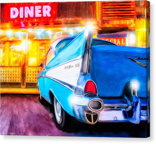 Canvas Print featuring the mixed media Classic Diner - 57 Chevy by Mark Tisdale