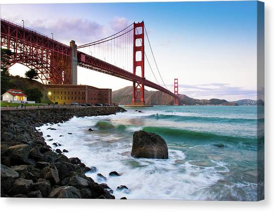 Mountain Ranges Canvas Print - Classic Golden Gate Bridge by Photo by Alex Zyuzikov