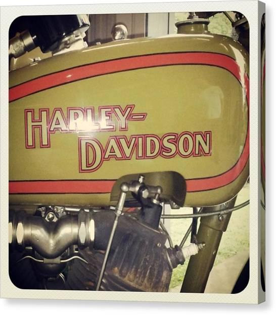 Harley Davidson Canvas Print - Classic Hd  #harley #harley_davidson by Drawspots Illustrations