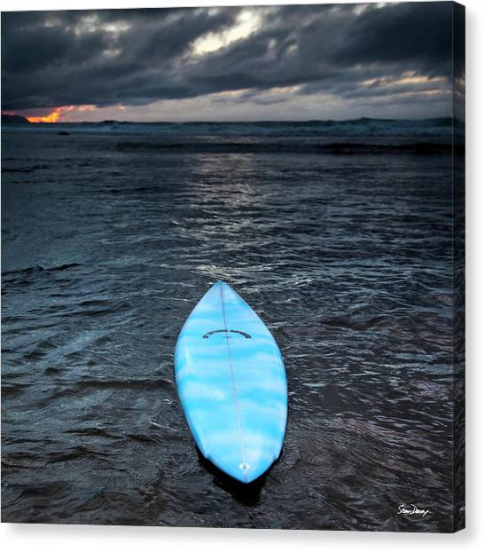 Surfboard Canvas Print - classic Hot Buttered surfboard at Rocky Point, Hawaii by Sean Davey