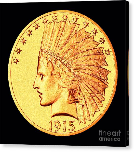 Classic Indian Head Gold Canvas Print