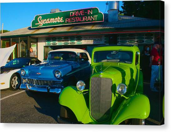 Classic Lime Green Car In Front Of The Sycamore Canvas Print