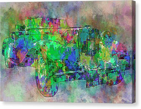 Stock Cars Canvas Print - Classic M G 3 by Jack Zulli