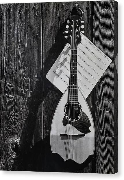 Mandolins Canvas Print - Classic Mandolin Hanging On Wall by Garry Gay