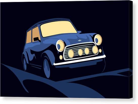 Classic Cars Canvas Print - Classic Mini Cooper In Blue by Michael Tompsett