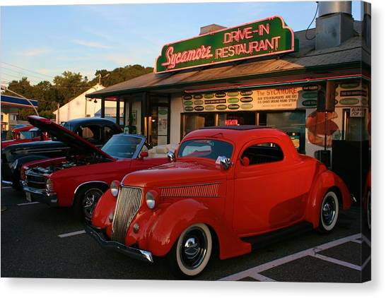 Classic Red Car In Front Of The Sycamore Canvas Print