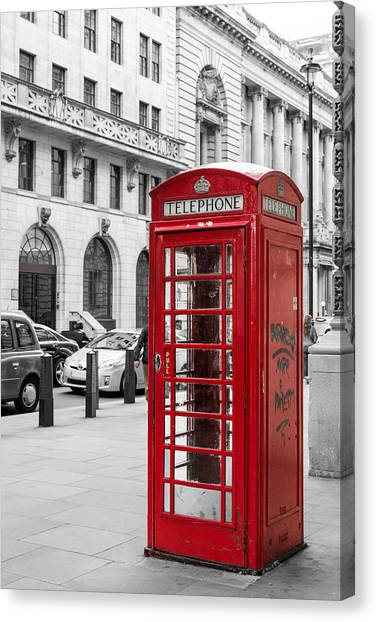 Red Telephone Box In London England Canvas Print
