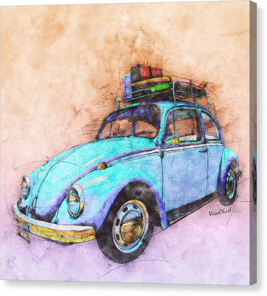Classic Road Trip Ride Watercolour Sketch Canvas Print