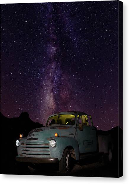 Classic Truck Under The Milky Way Canvas Print