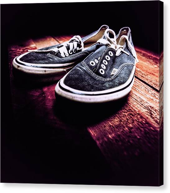 Skateboarding Canvas Print - Classic Vintage Skateboard Shoes On Wood by YoPedro
