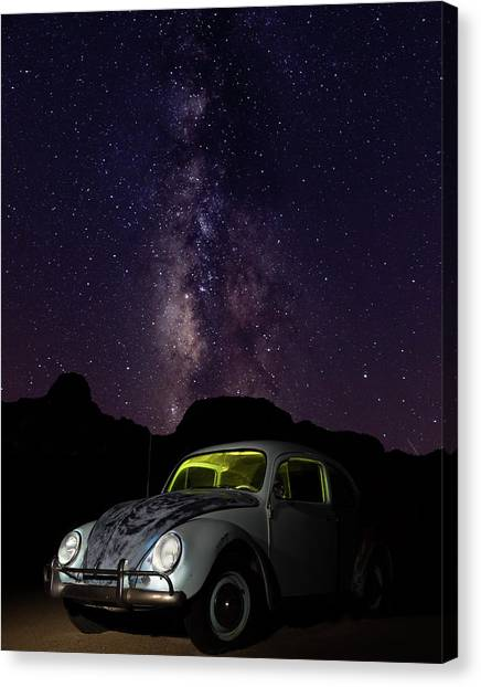 Classic Vw Bug Under The Milky Way Canvas Print