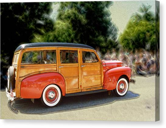 Classic Woody Station Wagon Canvas Print by Roger Soule