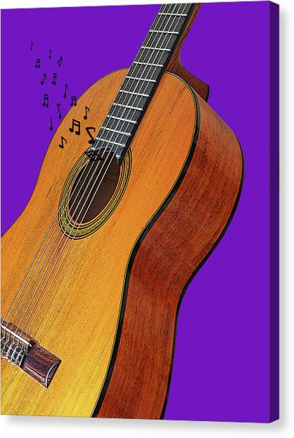Classical Guitars Canvas Print - Classical Guitar On Purple by Gill Billington