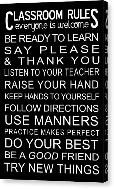 Classroom Rules Poster Canvas Print