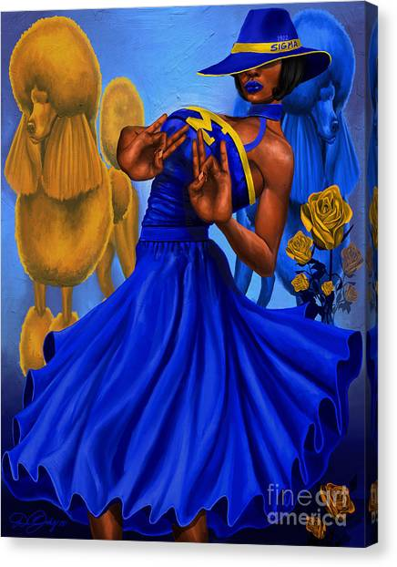Sigma Gamma Rho Canvas Print - Classy Blue And Gold by The Art of DionJa'Y