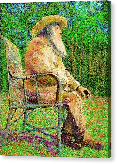 Claude Monet In His Garden Canvas Print